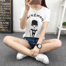 754 Spring Summer New Korean Slim Slim Shirt Short Sleeved T-shirt Printing Half Of Domestic Students Female Tide Filled Photos