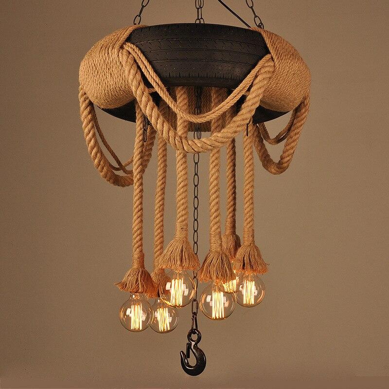 Американский кантри Loft Nordic industrial конопли шин подвесные светильники Эдисон бар жизни Кухня Обеденная лампы