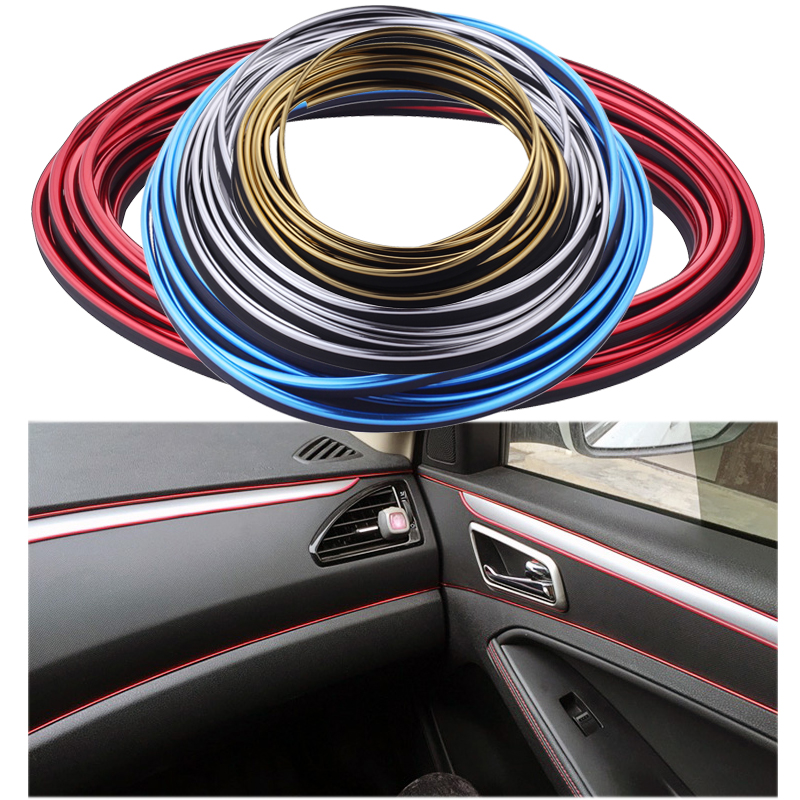 universal 8m car styling flexible trim for car interior exterior moulding pvc decorative strip. Black Bedroom Furniture Sets. Home Design Ideas