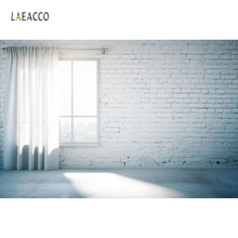 Laeacco Room Interior Photography Backgrounds  Window Curtain Brick Wall White Custom Photographic Backdrops For Photo Studio