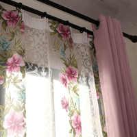 مخصص الستائر الرعوية رومانسية الوردي الزهور معيشة غرفة نوم المطبوعة نافذة القماش ستائر تعتيم تول الغزل M374