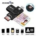 Rocketek dod militar inteligente leitor de cartão usb leitor de cartão inteligente/cac common access card reader escritor para sd micro sd m2 ms cartões
