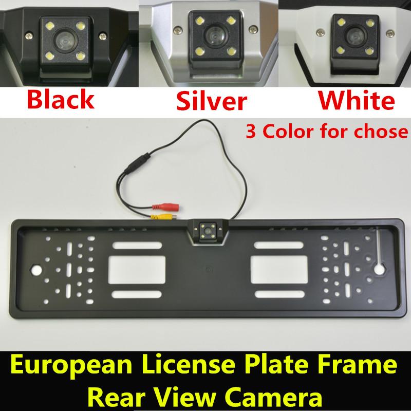 Prix pour Imperméable à l'eau 170 degrés CCD Nuit Vision Européenne License plate Frame Nombre De Voiture De Sauvegarde Vue Arrière de Recul Caméra de Recul