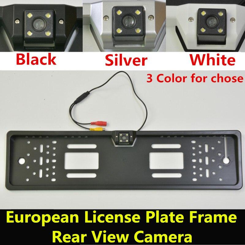 imágenes para Impermeable de 170 grados de Visión Nocturna del CCD Europea Marco de la Matrícula Número Del Coche de Visión Trasera Cámara de Marcha Atrás de Copia de seguridad