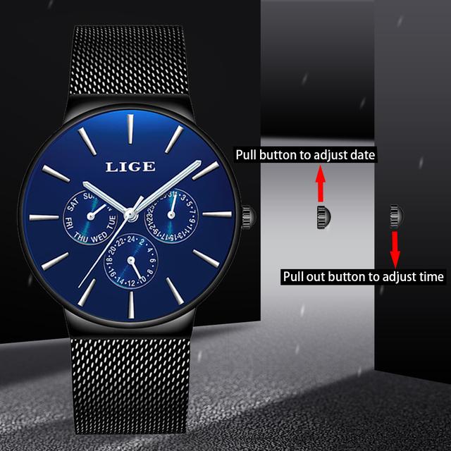 reloj hombre 2019 LIGE Top Brand Luxury Men Watches Waterproof Ultra Thin Date Wrist Watch Male Mesh Strap Casual Quartz Clock