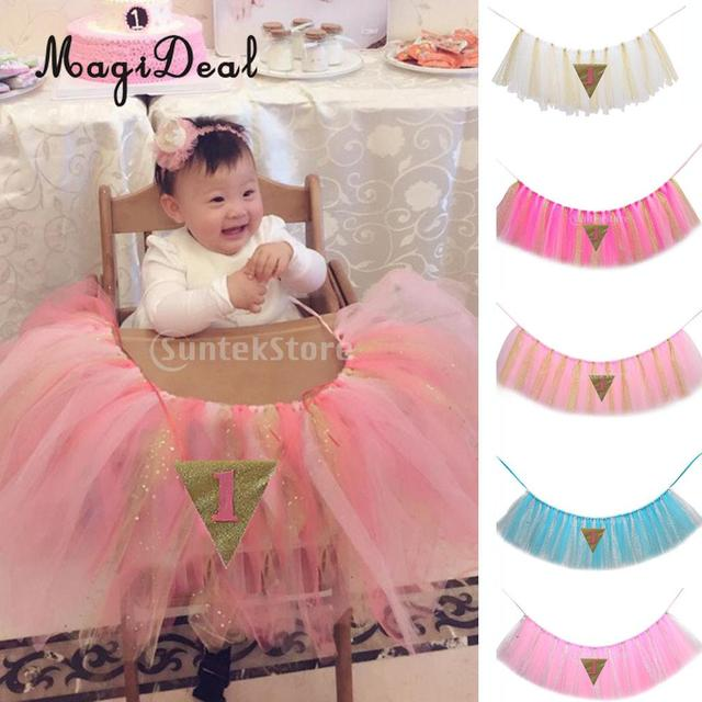 MagiDeal Tutu Tulle Table Skirts High Chair Decor Baby Shower Decorations For Boys Girls Party Set 1st Birthday Supplies