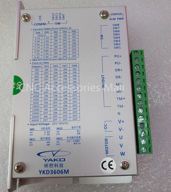 YAKO 32 bit DSP stepper driver di 3 fasi stepper driver YKD3606M 20V-60VDC 5.9A per 42-86mm 3- fase del motore passo a passoYAKO 32 bit DSP stepper driver di 3 fasi stepper driver YKD3606M 20V-60VDC 5.9A per 42-86mm 3- fase del motore passo a passo