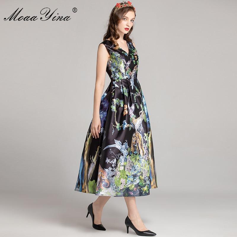 cou Manches Designer Diamant V D'été Animal Femmes Qualité Multi print De Robe Moaayina Sans Bal Mode Supérieure Floral Perles rQdBWxCoe