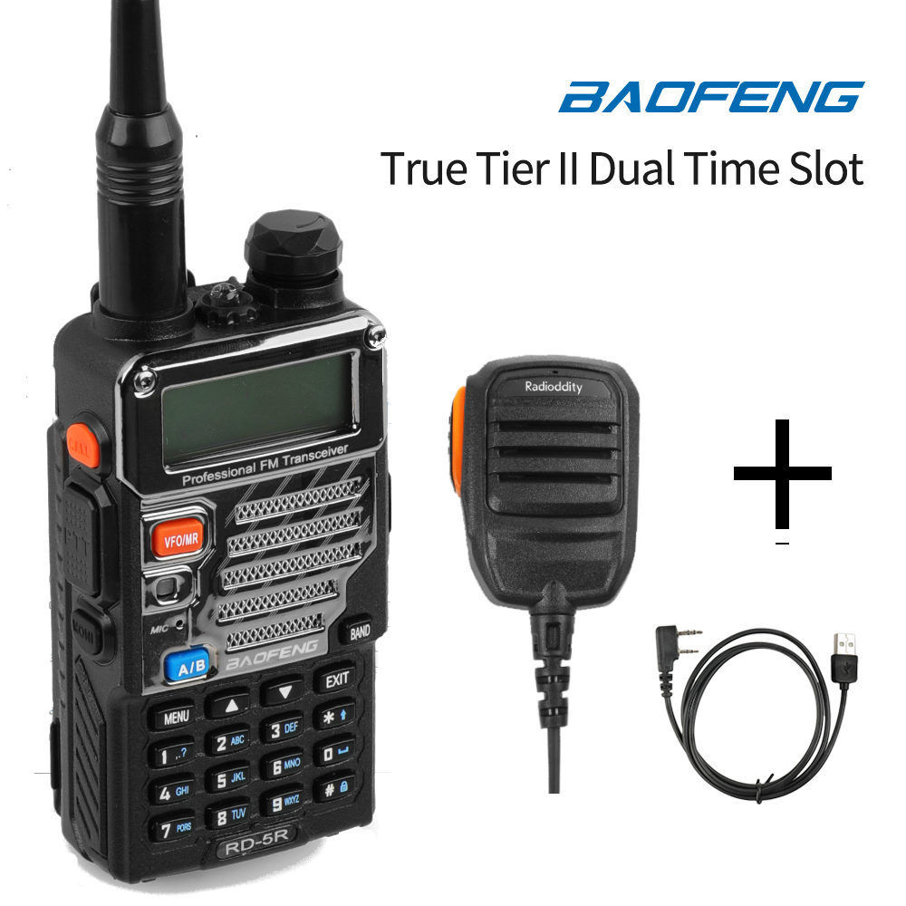 Baofeng RD-5R DMR Niveau II VFO Numérique Dual Band 136-174/400-470 MHz Two way Radio Talkie Walkie jambon Émetteur-Récepteur avec Haut-Parleur