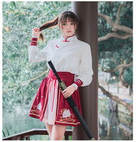 Chinese Martial Arts Drama Hanfu Cosplay Costumes 2 Pcs Lot Female Shi Mei Red Color Navy