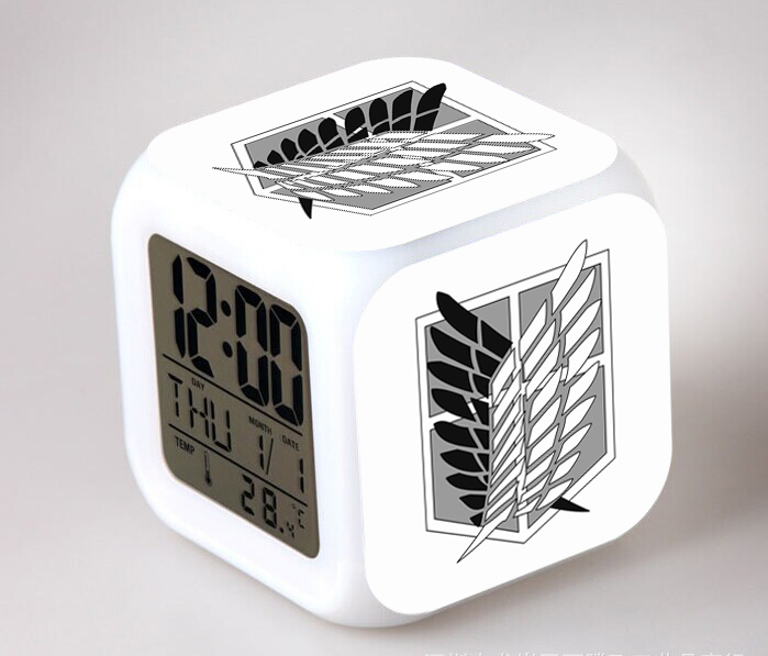 Anime Attack On Titan Action Figures Digital Alarm Clock Shingeki No Kyojin Reloj Despertador Saat Led Clock Collection Toys  недорого
