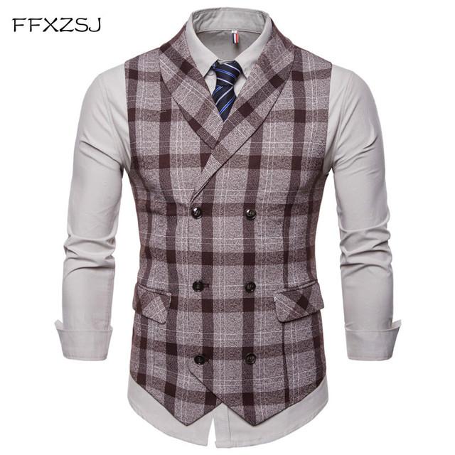 FFXZSJ 2018 Men Vest Red Plaid Vest Doouble Breasted V-neck Collar Casual Style Slim Fit Wedding Party Wear Plus Size Vest Men