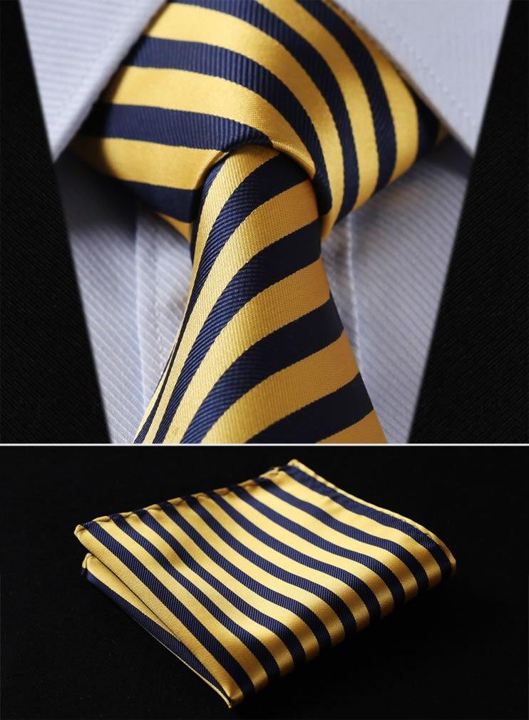 TS260Y8 Yellow Navy Blue Stripe 3.4 100%Silk Wedding Jacquard Woven Men Tie Necktie Pocket Square Handkerchief Set Suit
