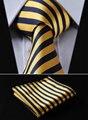 """Ts260y8 amarelo listra azul 3.4 """" 100% de seda tecido Jacquard homens gravata do laço bolso praça Handkerchief Set Suit"""