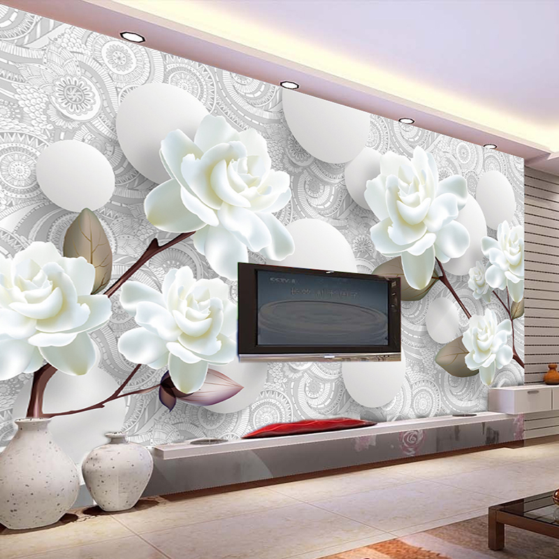Custom Mural Wallpaper European Style 3D Stereoscopic Relief Flower Circle Ball TV Background Wall Decor Wallpaper Living Room