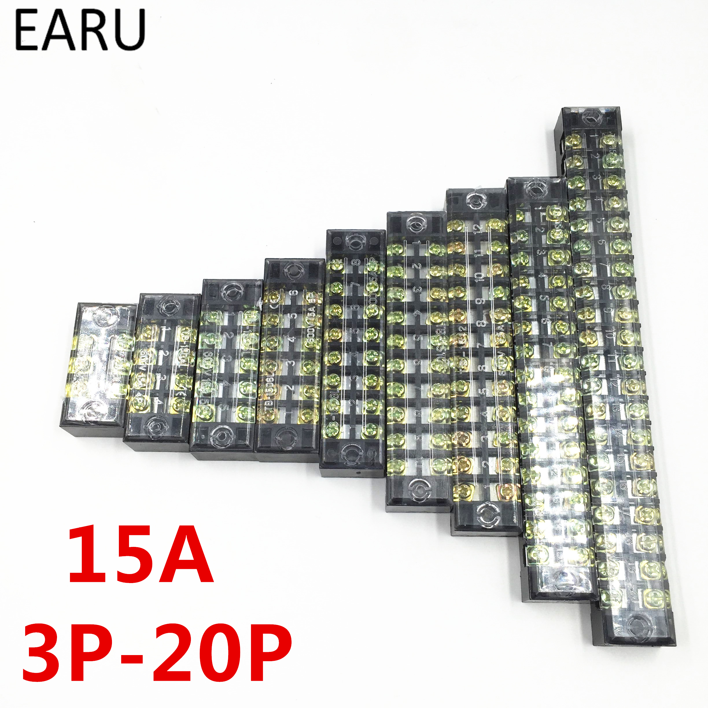 15A 600V Dual Row Barrier Screw Terminal Block Wire Connector TB Series 3 4 5 6 8 10 12 16 20 Positions Ways Factory Wholesale 5 pcs 600v 45a 4 positions 4p dual rows covered barrier screw terminal block