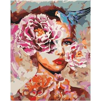 Cuadro Digital DIY con diseño de flor para mujer de 40x50cm