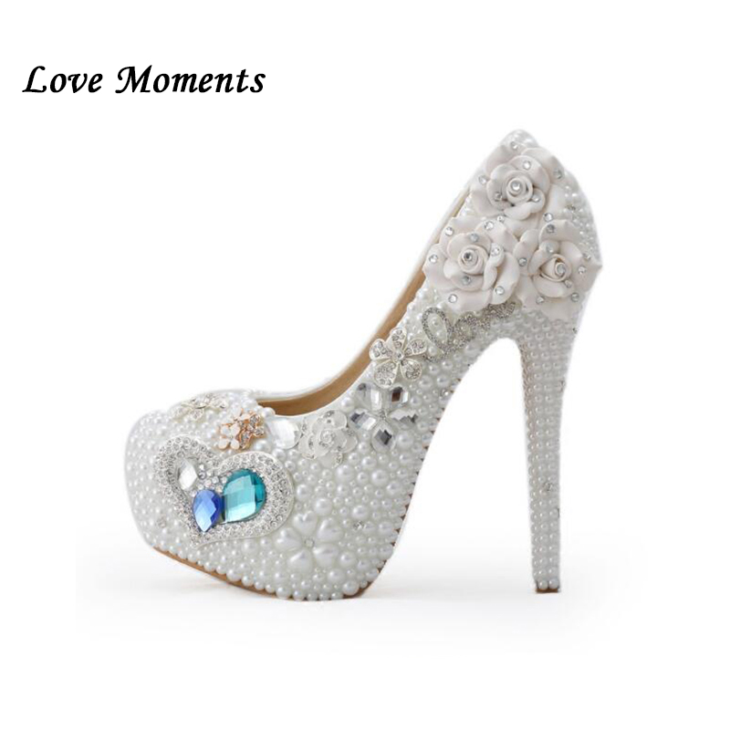 Blue crystal white pearl high-heeled shoes woman New design handmade wedding shoes performance shoes girl party necessry shoeBlue crystal white pearl high-heeled shoes woman New design handmade wedding shoes performance shoes girl party necessry shoe