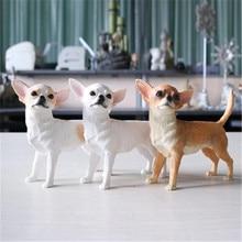 Моделирование животных милый щенок чихуахуа собака творческий домашний Декор Фигурка Коллекционная модель игрушки 12 см коробка подарок P1071