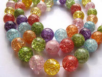 AA 2strands 4 16mm Natural Rainbow Crystal Quartz Gemstone Round Ball Rock Cracked Beads Jewelry For