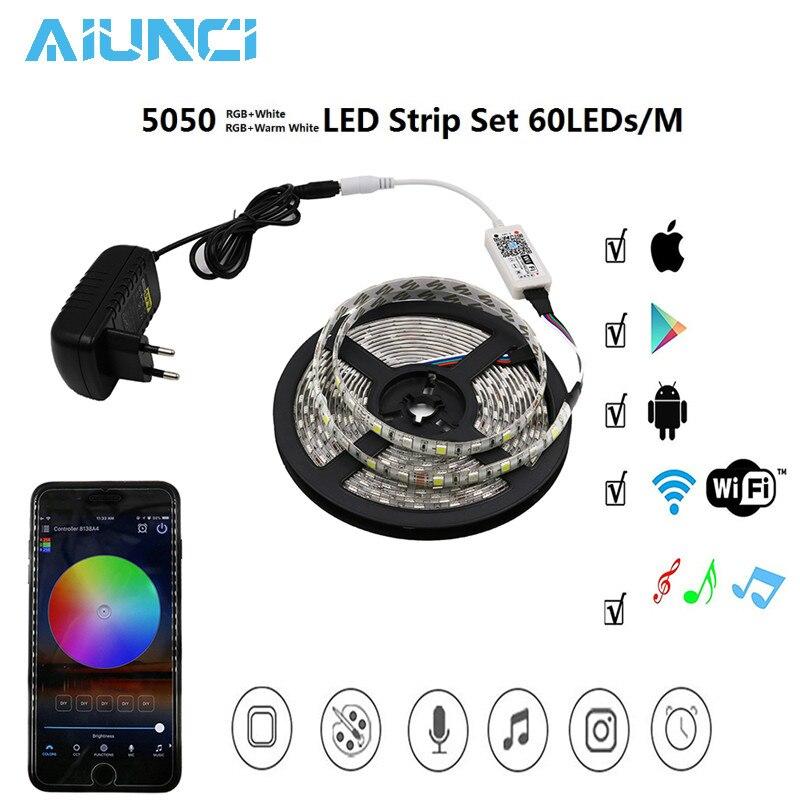 Bande de LED RGBW/WW 5050 ensemble avec Mini contrôleur WiFi RGBW/WW + adaptateur d'alimentation 12 V, néon de décoration de la maison