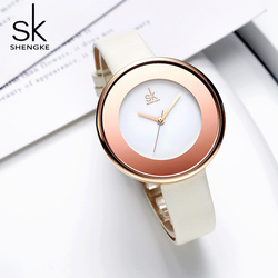 Shengke moda minimalista feminino relógios de luxo sk relógio feminino senhoras de couro relógio reloj mujer zegarek damski