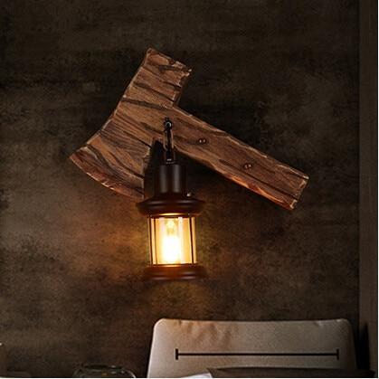 웃 유IWHD Wooden American Country Wall Lamp Glass Creative Loft Wall ...