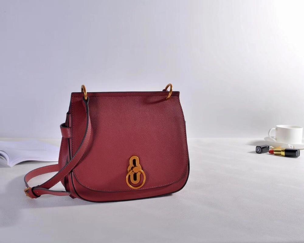 Kafunila real leather saddle bag genuine leather women lock bag famous brand designer crossbody messenger bag bolsa feminina