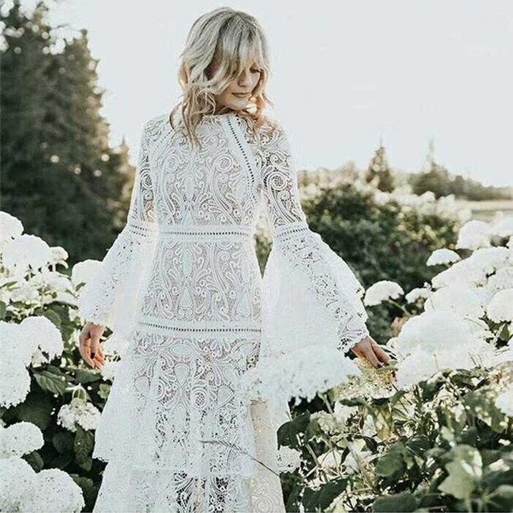 2018 été Vintage femmes blanc dentelle évider vacances robe pleine longue Flare manches volants robe élégante - 3