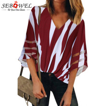 SEBOWEL Casual V Neck Lace Striped  Blouse Shirts for Woman Female Summer Black 3/4 Sheer Sleeve Contrast Colors Blouses Tops