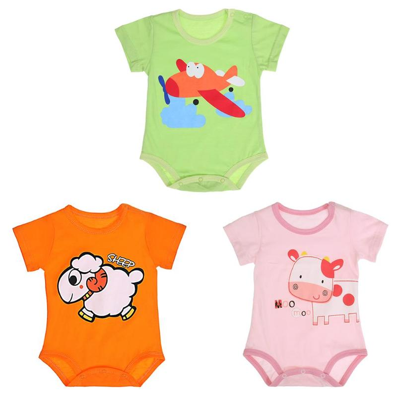 lovely Baby Girls Romper Summer Cartoon Animals Print Clothing Breathable Short Sleeve Cotton O-Neck Newborn Boys Girls Romper