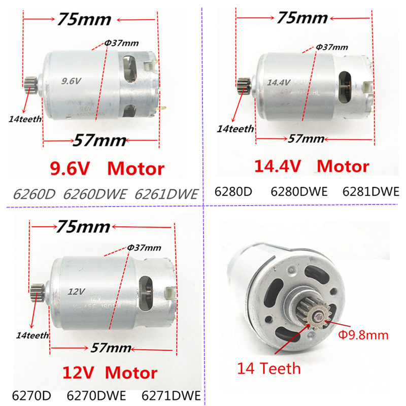 14 Teeth RS-550VC 9.6V 12V 14.4V Motor Replacement For MAKITA 6260D 6260DWE 6261DWE 6270D 6270DWE 6271DWE 6280D 6280DWE 6281DWE