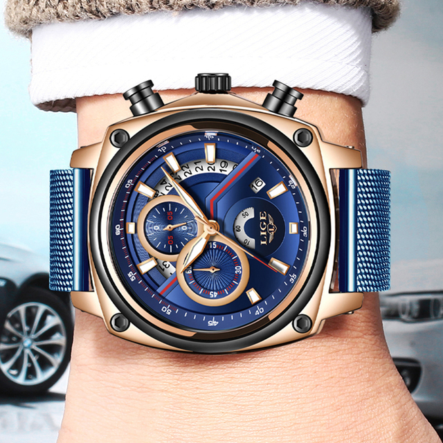 LIGE Luxury Casual Blue Clock Military Waterproof Chronograph Men Quartz Watches  3