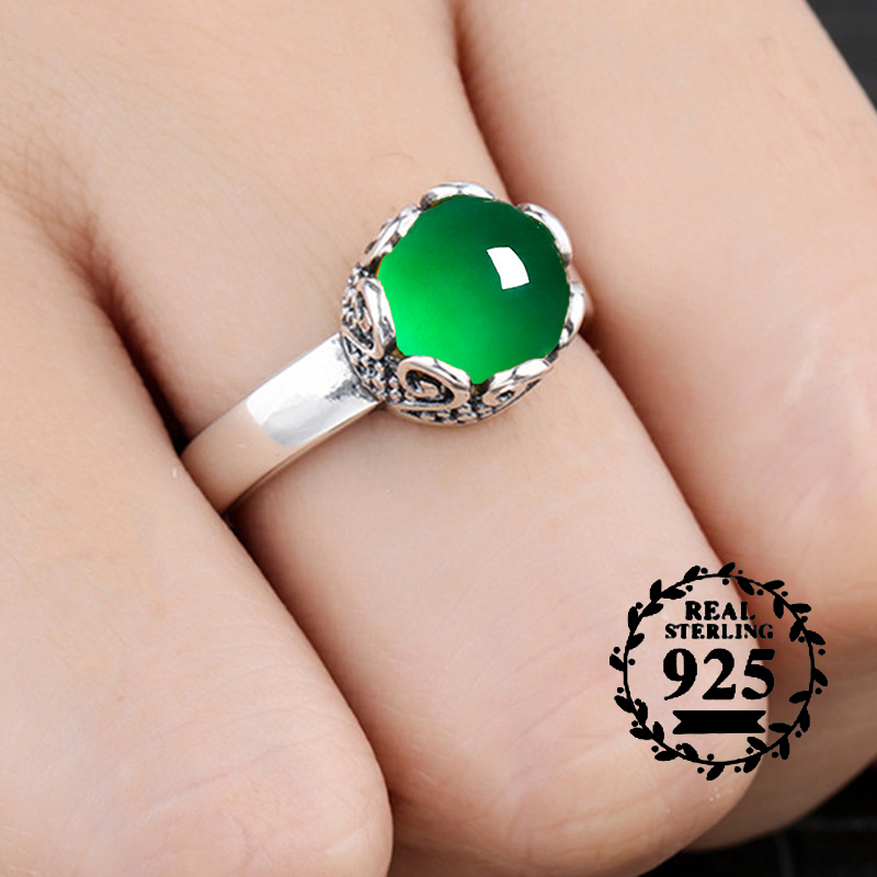 10*10mm NOT FAKE S925 Sterling Silver Asia Emerald Rings Jade moldevite upper class lithuania Retro Chalcedony10*10mm NOT FAKE S925 Sterling Silver Asia Emerald Rings Jade moldevite upper class lithuania Retro Chalcedony