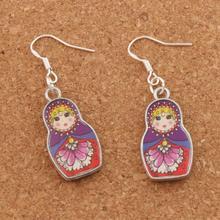 Enamel Russian Doll Earrings 925 Silver Fish Ear Hook 4Colors 45X14mm 20pairs Antique Chandelier E1555