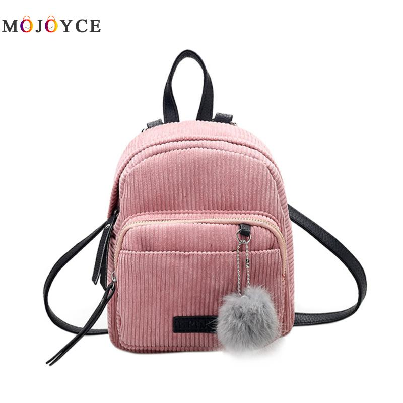Girl Mini Backpack Small Women Shoulder Bag Fur Ball Solid Color Corduroy Back Pack Spring Winter Velvet Schoolbag 2017 small fresh mini shoulder bag with three pairs of ears can replace the small backpack cute modeling trend backpack y088