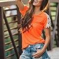Blusas Femininas 2017 Лето Сексуальные Женщины О Шея Кружева Лоскутная С Коротким Рукавом Свободные Рубашки Случайные Простые Топы Плюс Размер S-XL