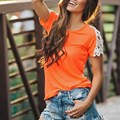 Blusas Femininas 2017 Summer Sexy Women O Neck Lace Patchwork Short Sleeve Loose Shirts Casual Simple Tops Plus Size S-XL