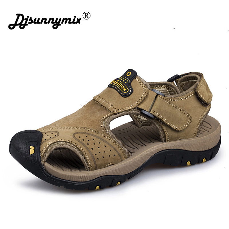 DJSUNNYMIX Brand Genuine Leather Shoes Summer New Large Size Mens Sandals Men Sandals Fashion Sandals And Slippers