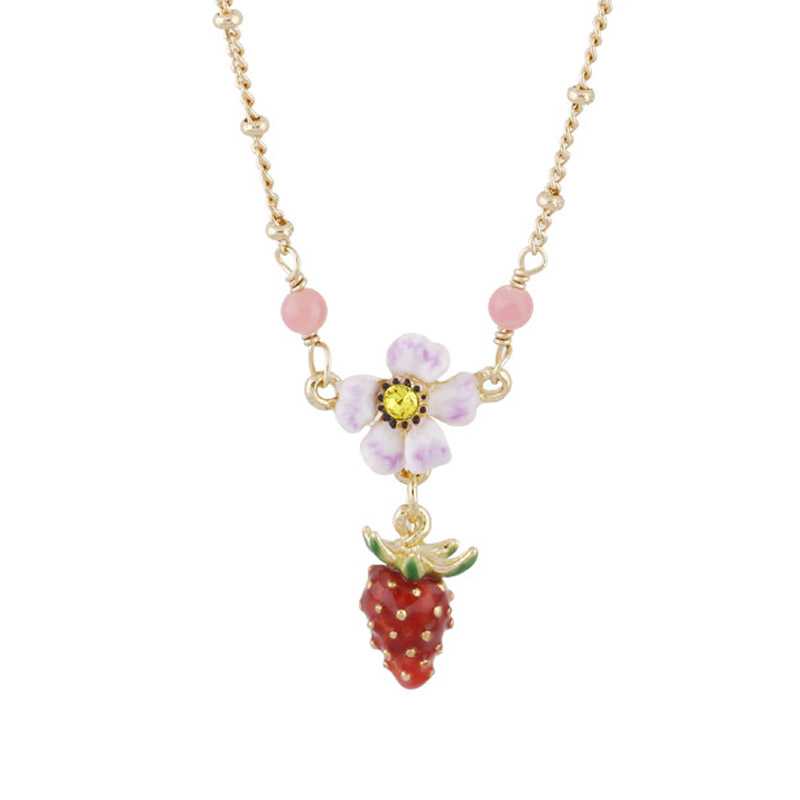 Enamel glaze Strawberry flower choker necklaces lady party jewelry romantic women pendant necklace unique mermaid with shell pendant necklace for women enamel glaze fashion choker necklaces lady party jewelry