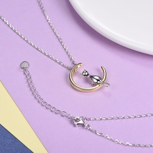 Image 4 - U7 100% 925 Sterling Silver Cat/Kitten Sit on Moon Pendant & Chain Valentines Day Gift For Women Animal Jewelry Necklace SC37