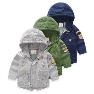 Image 1 - Весенне осенняя куртка Верхняя одежда для мальчиков ветровка с длинными рукавами, детский плащ с капюшоном для малышей, От 7 до 12 лет
