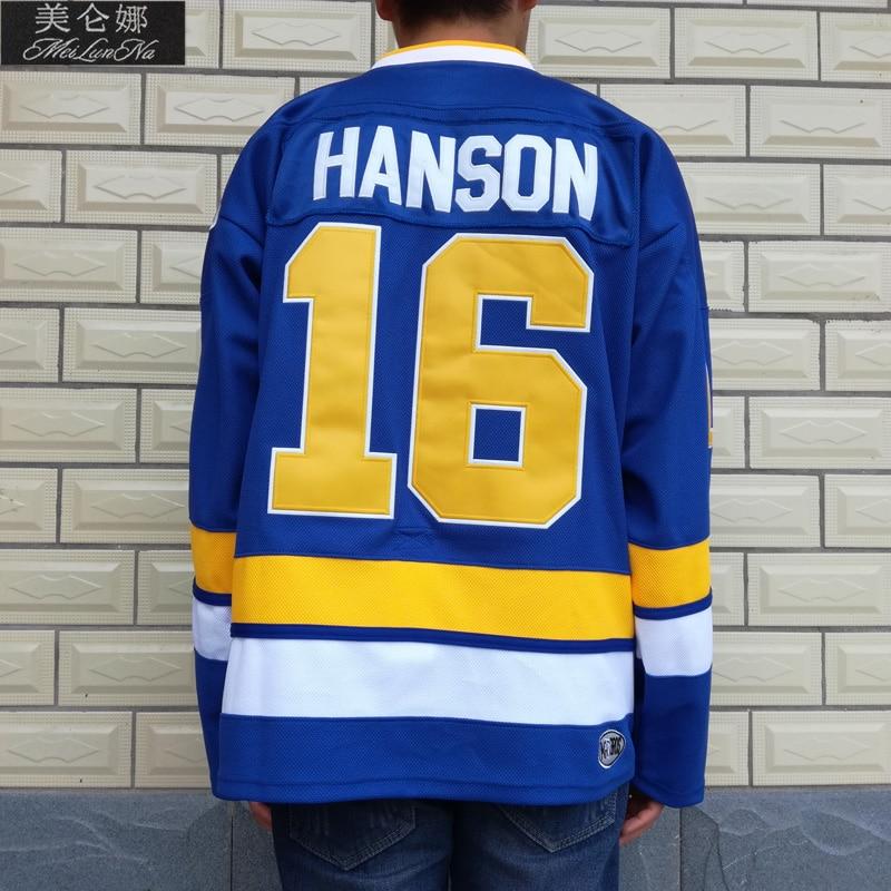 MeiLunNa Christmas Black Friday Slap Shot Charlestown Chiefs Hockey Jerseys #16 Jack Hanson Brothers Jersey Blue 1601