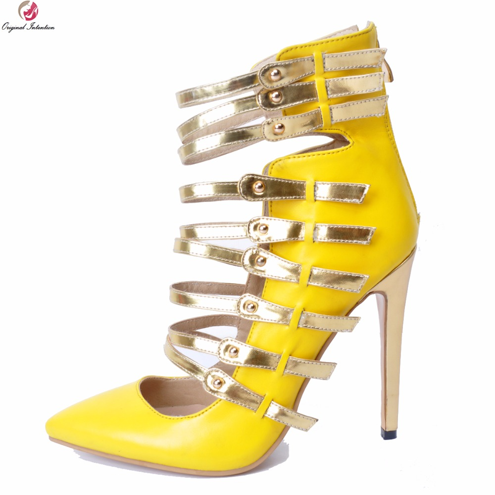 Original Intention New Gorgeous Women Sandals Fashion Pointed Toe Thin High Heels Sandals Yellow Shoes Woman Plus US Size 4-15 original intention super fashion women sandals elegant pointed toe thin heels gorgeous brown shoes woman plus us size 4 15