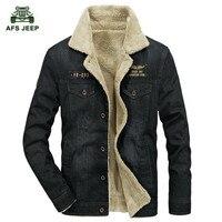 Winter Casual Denim Jacket Men Thick Warm Fleece Windbreaker Fur Collar Denim Blue Coat Male