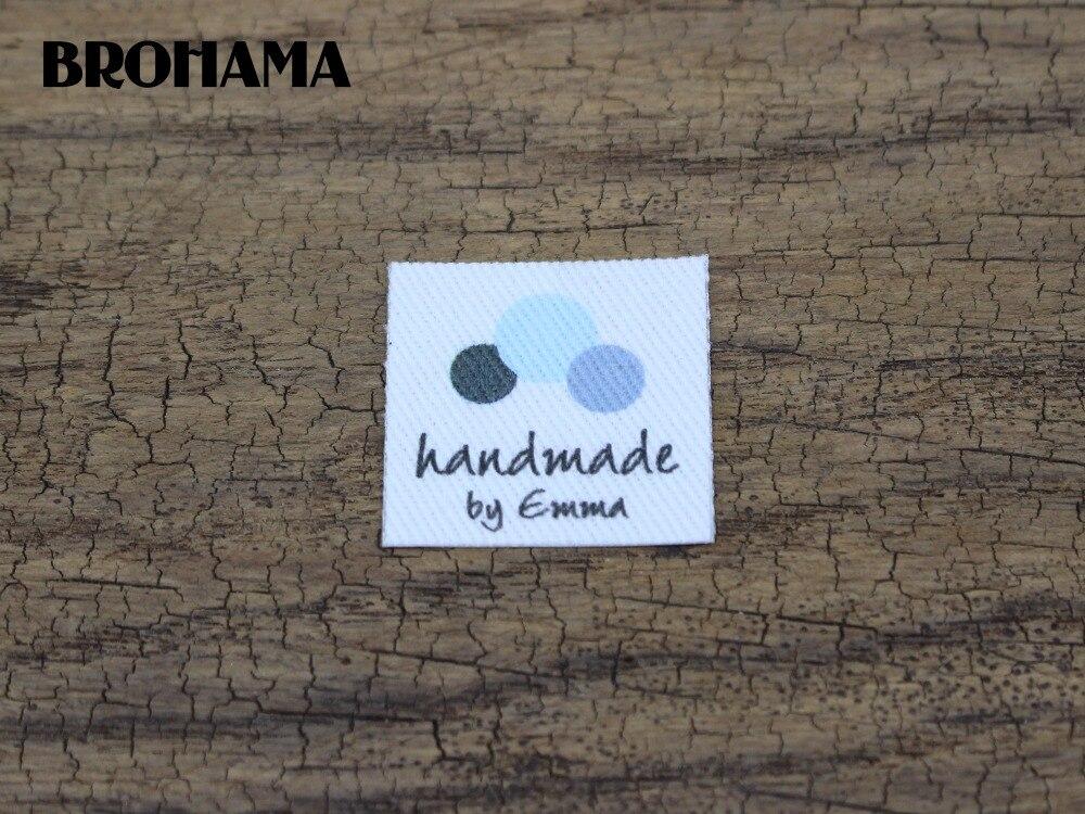 Étiquettes de logo/marque personnalisées   96 étiquettes en tissu fait à la main, étiquettes pour vêtements, étiquettes en tissu de coton biologique (TB210)