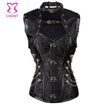 Corzzet Black Brocade Steampunk Overbust And Jacket Waist Trainer Steel Boned Plus Size Sexy Gothic Corpetes E Espartihlos