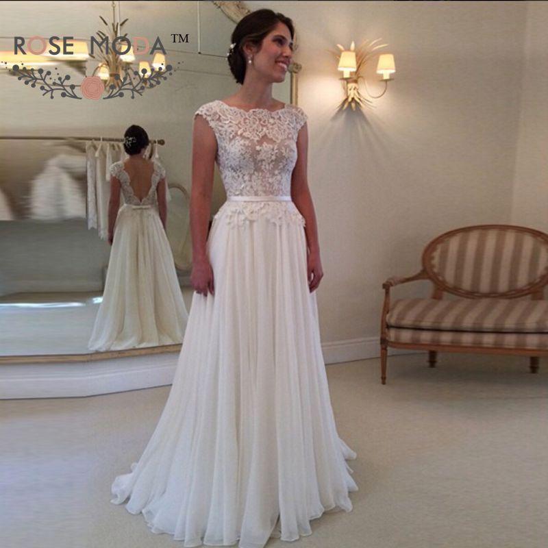 Rose Moda Kappe Ärmeln Strand Hochzeit Kleid 2019 Backless ...