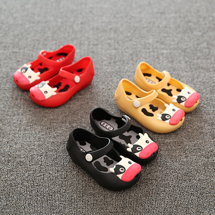 Summer 2018 Mini Melissa Cute Cows Girls Jelly Shoes Children Sandals New Style Mini SED Shoes for Girls Kids Sandals Waterproof