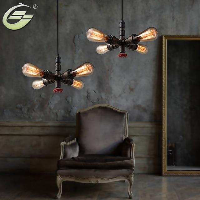 4 Köpfe Industrie Wasserleitung Pendelleuchte Eisen Braun Droplight E27  Innenbeleuchtung Dekoration Für Wohnzimmer Bar Cafe